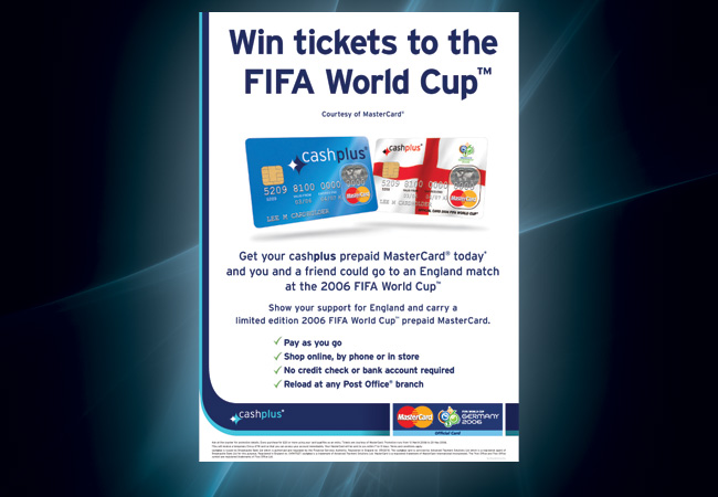 World Cup Poster Campaign promoting the 'cashplus' MasterCard